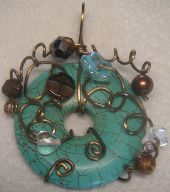 Turquiose Copper Wire-Wrapped, Beaded Donut Pendant