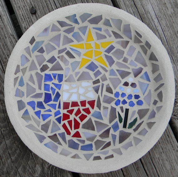 Mosaic Stained Glass Texas, Star, Bluebonnet Birdfeeder, Red, White, Blue, Yellow