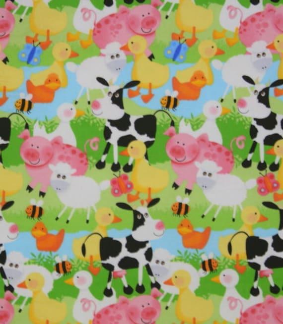 1/2 yard Flannel SALE farm animals