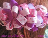 Cute as a Button Pink Valentine Loopy Ribbon Bow Barrette