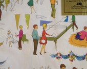 Vintage 60's Wrapping Paper Party Ping Pong Pep Rally Retro
