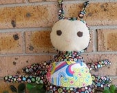 Sew Sunshine -  Jollybugsie-hearts - Handmade Soft Cotton Doll (suitable for baby)