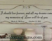 If I should live forever Wedding sign personalized Vintage chic