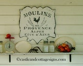 Moulins de Provence Vintage style French sign handpainted - castleandcottage
