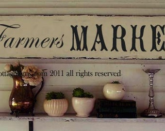 Farmers Market Vintage style chippy cottage white sign handpainted original design