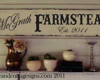 "Custom Family sign Vintage Farmstead farmhouse original design handpainted 48""x10"""