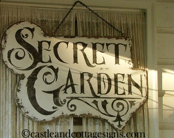 Secret Garden ornate vintage sign handpainted chippy cottage style