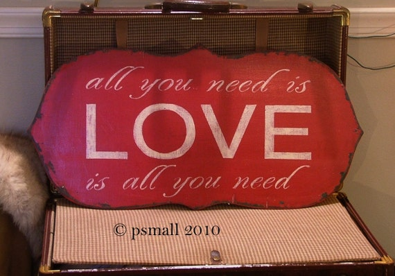 LOVE is all you need vintage style sign red chippy cracked paint