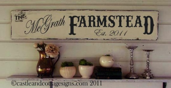 Custom Family Sign Vintage Farmstead Farmhouse Original Design