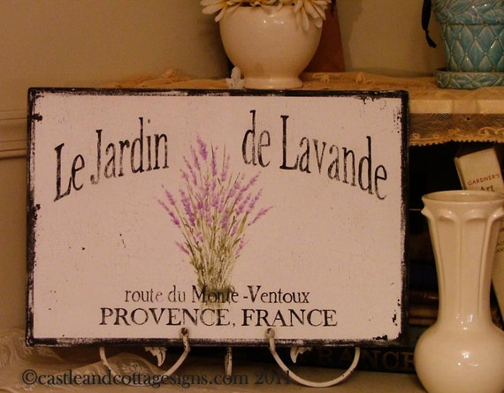 French Lavender No. 2  Handpainted vintage chippy SIGN