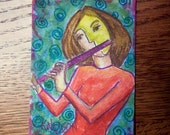 Flute Player ACEO Mixed Media
