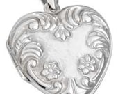 Large Floral Embossed Heart Sterling Silver Locket -- Complimentary Ribbon or Cord