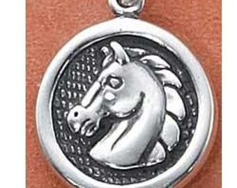 Horse Head Sterling Silver Charm -- Complimentary Ribbon or Cord