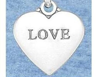 Heart with LOVE Affirmation Sterling Silver Charm -- Complimentary Ribbon or Cord