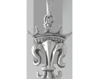 Royal Fleur de Lis Sterling Silver Charm -- Complimentary Ribbon or Cord