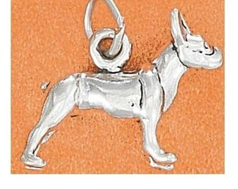 Boston Terrier Sterling Silver Charm -- Complimentary RIbbon or Cord