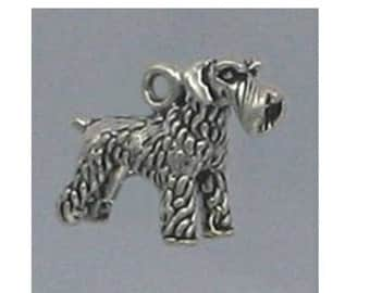 Schnauzer Sterling Silver Charm -- Complimentary Ribbon or Cord