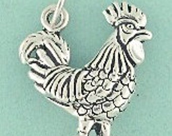 Rooster Sterling Silver Charm -- Complimentary Ribbon or Cord