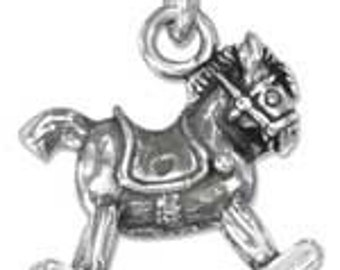 Rocking Horse Sterling Silver Charm -- Complimentary Ribbon or Cord