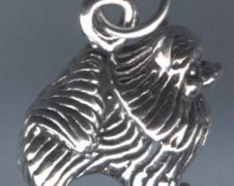 Pomeranian Dog Sterling Silver Pendant -- Complimentary Ribbon or Cord