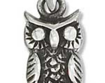 Antiqued Owl on a Branch Sterling Silver Charm -- Complimentary Ribbon or Cord