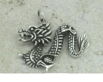 Chinese Dragon Sterling Silver Pendant -- Complimentary Ribbon or Cord