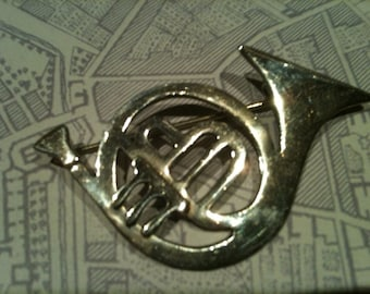 Vintage French Horn Sterling Silver Pin