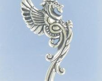 Large Dragon Sterling Silver Charm -- Complimentary Ribbon or Cord