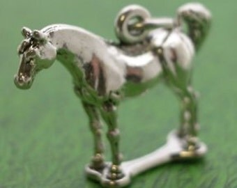 Horse Sterling Silver Charm Pendant  -- Complimentary Ribbon or Cord