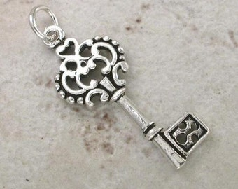 Sterling Silver Filigree Key Pendant -- Complimentary Ribbon or Cord