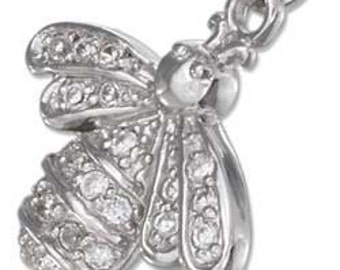Bumble Bee with Pave CZ's Sterling Silver Pendant -- Complimentary RIbbon or Cord