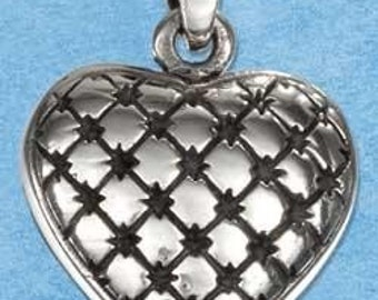 Quilted Heart Sterling Silver Charm -- Complimentary Ribbon or Cord