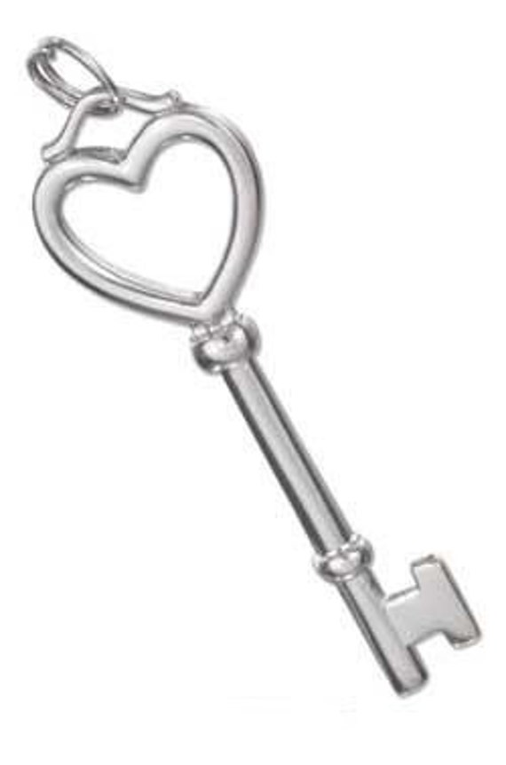 Heart Top Key Sterling Silver Pendant -- Complimentary Ribbon or Cord