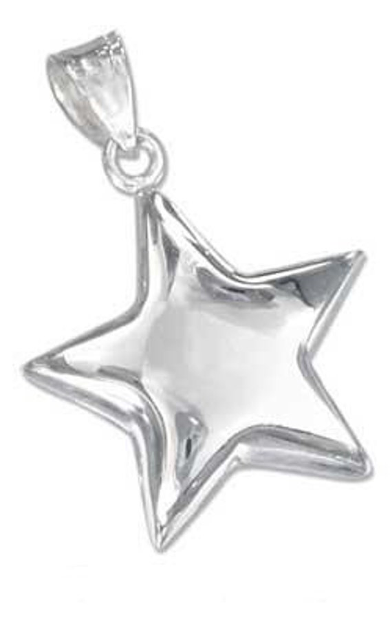 Shining Star Sterling Silver Charm -- Complimentary Ribbon or Cord