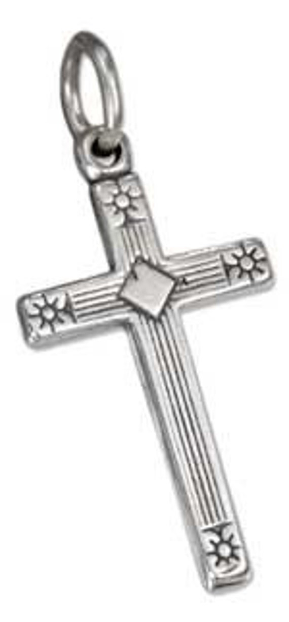 Antiqued Cross wtih Etched Sun Ends Sterling Silver Pendant -- Complimentary Ribbon or Cord