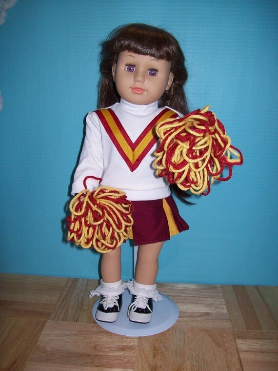 Maroon, Gold and White Cheerleader Outfit