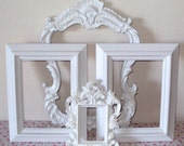 Open Picture Frames Ornate Shabby Paris Chic Cottage White Romantic Country Display Assortment Gallery Set of 4 Hollywood Regency Any Color