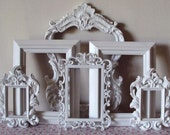 Picture Frames Cottage White or ANY Color Open Frames Wall Gallery 6 French Inspired Wedding. Home Decor. Art. Gift.