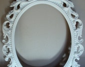 """Paris Chic Picture Frame Cottage White ANY COLOR Ornate Vintage Inspired Oval 9""""x12"""" Swirly Art Canvas Frame Wedding"""