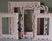 ANY COLOR(S) Picture Frames Soft Shabby Paris Chic Pink Set of 4 Romantic Cottage Wedding or Baby Wall Gallery Swirl Open Frames 8x10 5x7