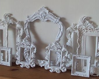 Farmhouse Cottage White Set of 9 Vintage Inspired Open Picture Frames Wall Art Gallery Scatter Frames Grouping Ornate Romantic Wedding