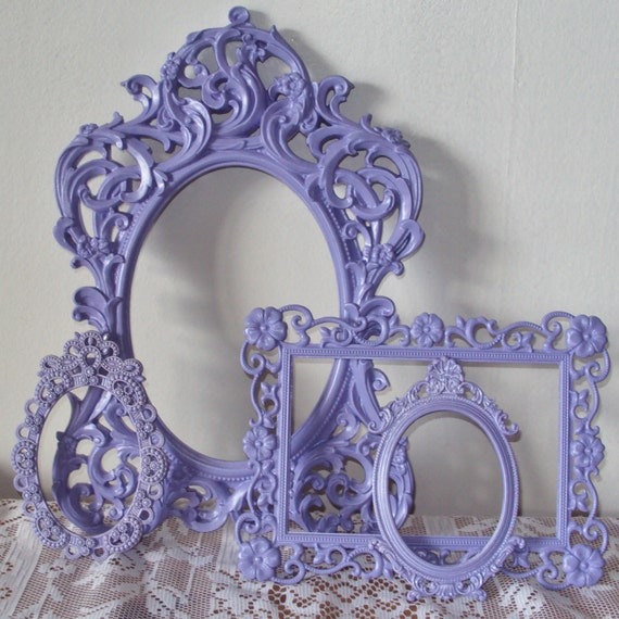 Valentine Gift Elegant Picture Frames Lace Ornate Lilac Lavender Purple Open Vintage & New Wall Gallery 4 Filigree Frames Ready to Ship