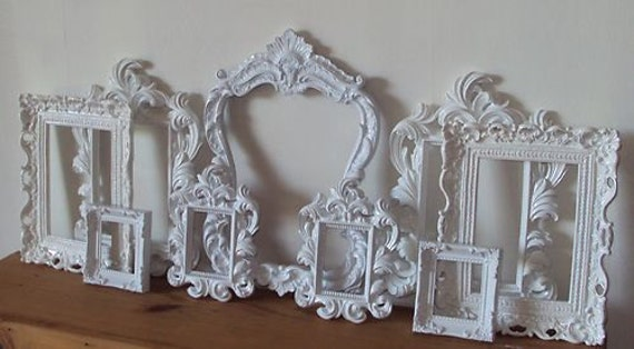 ANY COLOR Picture Frames 9 Open Frames Wall Art Cottage White OR Any Color Wall Gallery Frames for Grouping Ornate Romantic Cottage