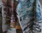 Nuno felted scarf  green