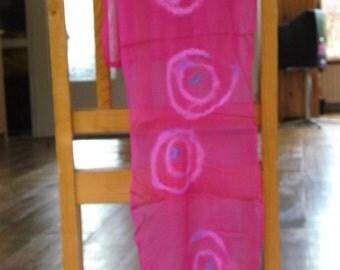 Pink silk nuno felted scarf
