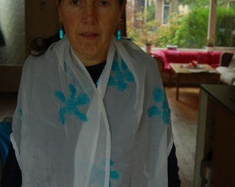 Nuno felted silk scarf, white with turquoise flowers