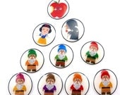 Snow White Buttons.  Handmade Buttons. 10 children's sewing buttons.