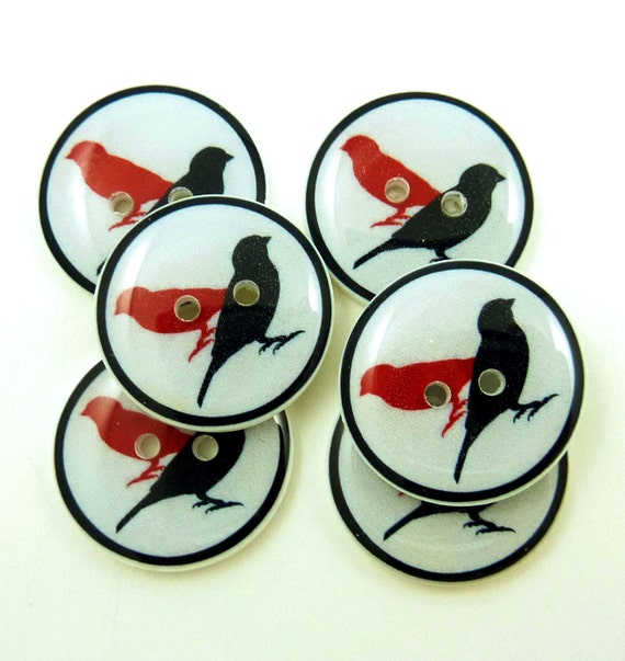 Bird Buttons.  Handmade Sewing Buttons. 6 red and black bird sewing buttons.
