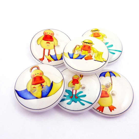 Rainy Day DuckButtons.  6 handmade Buttons.  Sewing Buttons.  Great Embellishment for Baby Shower Items.