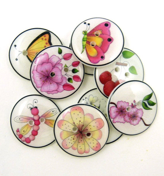 """9 Insect and Cherry Blossoms. Handmade Buttons. 3/4"""" or 20 mm. Sewing Buttons."""